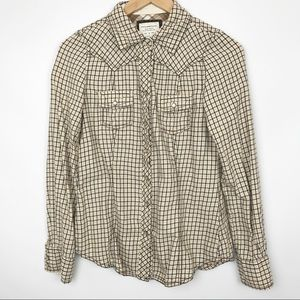 Old Navy   Western Plaid Button Down Flannel Shirt